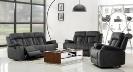 Global Furniture 9760 Contemporary Gray Premium Microfiber Recliner Sofa Set 3Pc