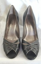 Leather SARTO Size Peep Black Heels Toe Pumps 8 Shoes FRANCO UZW1xnwZ