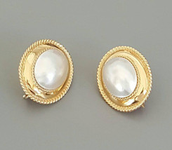 Pair of 14K Yellow Gold Mabe Cultured Pearl Earrings with Post and Omega... - $700.00