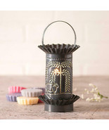 Primitive Mini Wax Warmer With Punched Willow And Sheep Tin In Country S... - $41.68