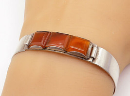 925 Sterling Silver - Vintage Square Cut Citrine 3 Stone Bangle Bracelet... - $49.56