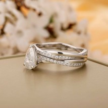 Pear Cut Diamond Cross Split Shank Bridal Sets Anniversary Gift For Women - $118.80