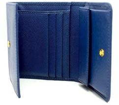Authentic PRADA Leather Logo Wallet Women Purse Wallet Blue Trifold image 5