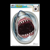 Funny LAND SHARK TOILET LID TOPPER Sticker Cling Bathroom Pirate Sharkna... - $6.90