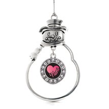Inspired Silver Noni Circle Snowman Holiday Christmas Tree Ornament With Crystal - $14.69
