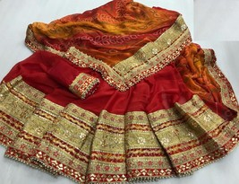 Party wear gotta patti work saree with blouse piece - $75.00