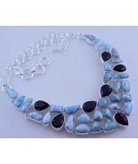 Larimar-Black Onyx Stone Silver Overlay Jewelry Necklace-Oj-287-44 - $51.48