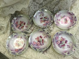 "6  Bowls Pink Blossoms and Raspberries Germany Approx  5 1/4"" Wide - $47.41"