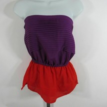 Rory Beca Womens Small Top Purple and Red Strapless Empire - $8.38