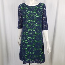 Jax Sheath Dress Women 12 Two Tone Lace Overlay Exposed Zipper Blue Green - $34.99