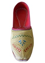 Men Shoes Traditioal Handmade Espadrilles Groom Jutties Leather Flat Gold US 9.5 - $39.99