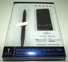NEW CROSS TECH2 SATIN BLACK BALLPOINT PEN & STYLUS WITH MICROFIBER CLOTH - $44.50