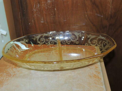 "Primary image for Fostoria Elegant Glass Relish Dish 8.75""x5.25"" Yellow divided Versailles pattern"