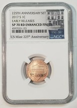 2017S NGC SP70 RD ENHANCED FINISH LINCOLN PENNY 225TH ANN LABEL Cent Coin