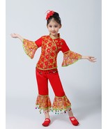 New Red Dance Wear Children Chinese Classical Dance Costumes Girl Fan Um... - $35.58