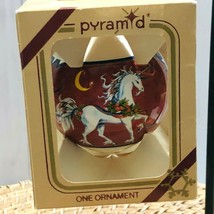 1980's Christmas Ornament Unicorn Medieval Painted Glass Ball Rauch - $29.01