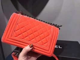 100% AUTHENTIC CHANEL CORAL VELVET QUILTED LAMBSKIN SMALL BOY FLAP BAG SHW image 3