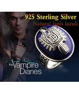 Vampire Diaries Damon 925 Sterling Silver Ring  Salvatore Crest Lapis La... - $49.99