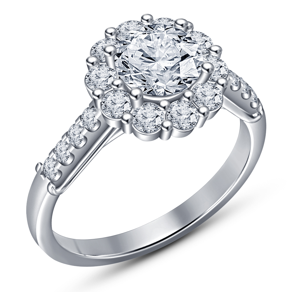 14K White Gold Over His And Her Diamond Engagement Bridal Wedding Trio Ring Set