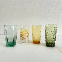 Vintage Glassware Mismatched Amber Green Glasses Set Mid Century Tumbler... - $35.64