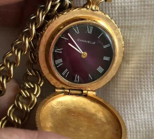 Gorgeous Lady's Caravelle Pocket Watch With Chain Working - $111.48