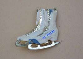 Vintage ICE FOLLIES skates brooch painted celluloid? souvenir figure ska... - $22.76