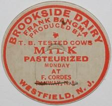 Vintage milk bottle cap BROOKSIDE DAIRY Frank Bangma for Monday Westfiel... - $9.99