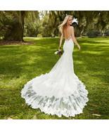 Mermaid Lace Wedding Dresses Sweetheart Open Back Spaghetti Strap - $398.00