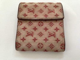 Authentic Louis Vuitton Min Lin- Red Canvas Compact Bifold Wallet 5in x 4in - $142.45