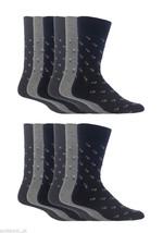 12 Pairs Mens Gentle Grip Socks Size 6-11 Uk, 39-45 Eur MGG45 Grey Squares - $17.14