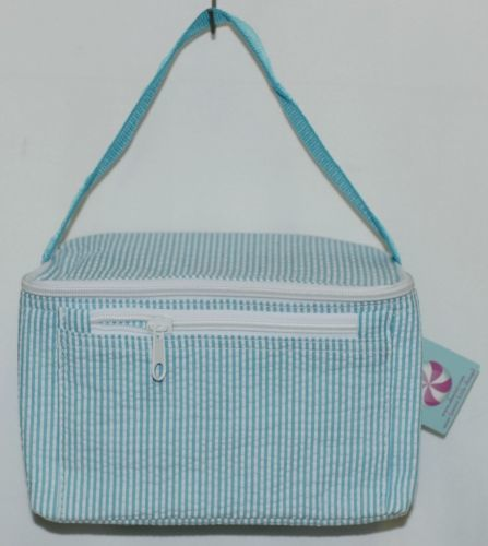 Oh Mint 1604343STRIPE Aqua and White Stripe Seersucker Lunchbox