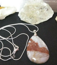 Natural Stone Healing Druzy Jasper Pendant Necklace 925 Sliver chain Wom... - $17.33