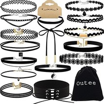 Choker Set, Outee 15 PCS Womens Choker Necklace Set Black Velvet Lace Ta... - $9.17