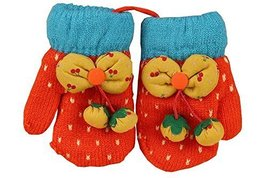 Durable Lovely Pattern Warm Gloves Useful Woolen Winter Baby Mittens 137CM