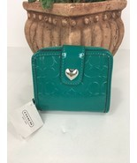 Coach Wallet Perforated Liquid Gloss Medium Zip Around Bright Jade  F495... - $58.79