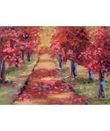 Original Oil Aceo Painting Falling Autumn leaves Mohawk Park  ~Artist P.... - $5.00