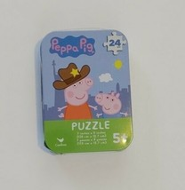 """PEPPA PIG 5"""" x 7"""" Jigsaw Puzzle In 4"""" x 3"""" Collector's Tin, 24 Pieces -NEW - $4.99"""