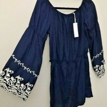 Romeo And Juliet Couture Navy Blue Eyelet Embroidered Bell sleeves Rompe... - $39.11