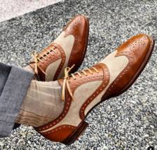 Handmade Men's Brown & Beige Wing Tip Heart Medallion Leather & Suede Shoes image 4
