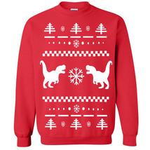 357 T-Rex Ugly Christmas Sweater Crew Sweatshirt funny dinosaur tyrannos... - $20.00+