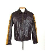 BKE 67 Brown Leather Moto Bomber Jacket Mens Size L Biker Racer Suede Inlay - $113.84