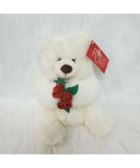 "12"" Plush Russ Berrie White Teddy Bear Mistie Holding Red Flowers Plush ... - $11.97"
