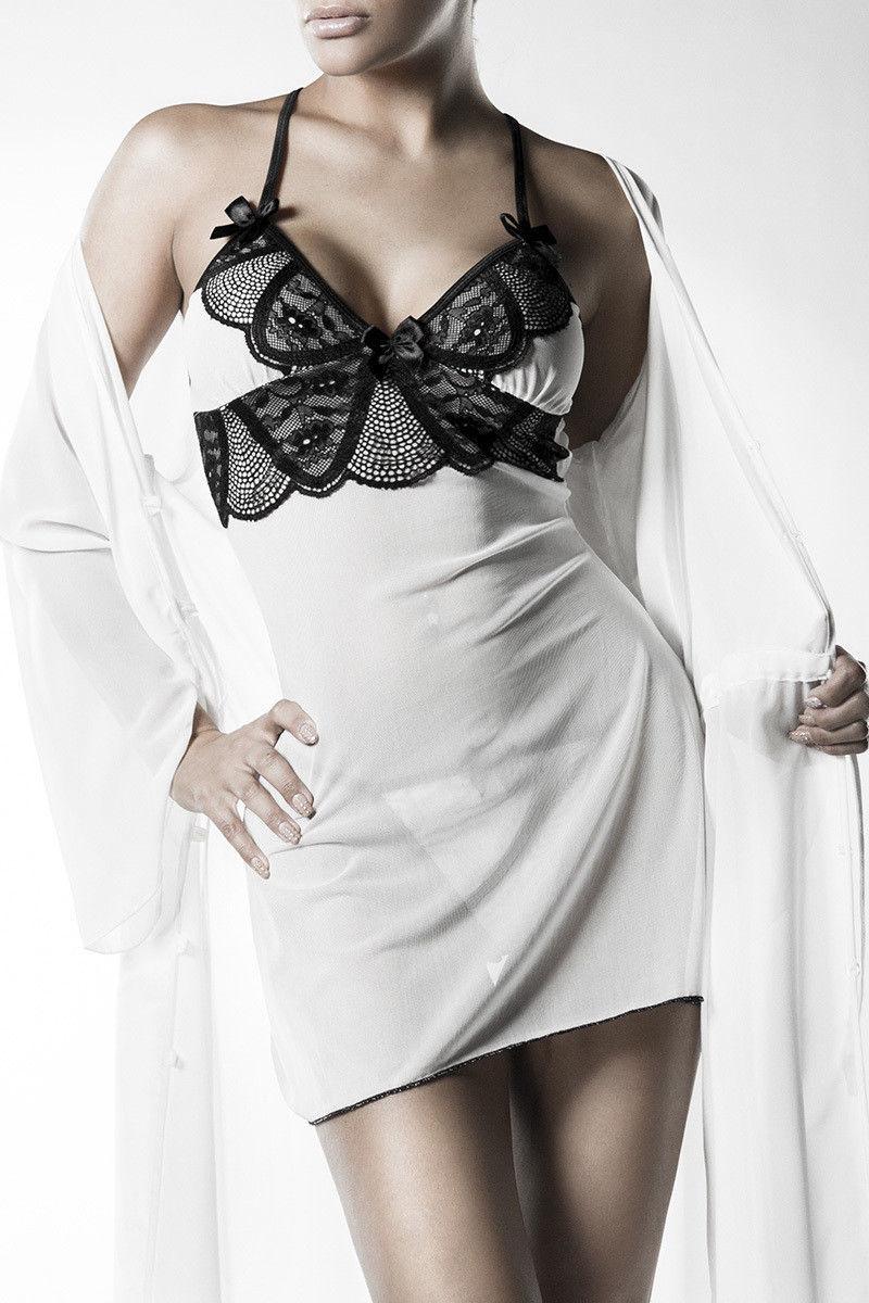 LINGERIE SEXY LOT blanc sous-vêtements Manteau Négligé STRING DENTELLE image 3