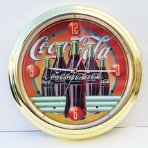 "13"" Coca Cola Metal Quartz Wall Clock 1996 Always Time For... #3502 - $68.80"