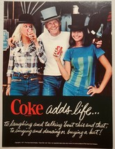 1977 Print Ad Coca-Cola 2 Ladies & Man with Funny Hats Drink Coke - $11.56