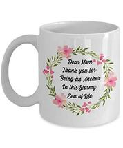 An item in the Pottery & Glass category: Dear Mom Mug Inspirational Floral Wreath Thanksgiving Gift