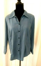 Notations Women  Blue Button Shirt Size Large V Neck striped  - $11.83