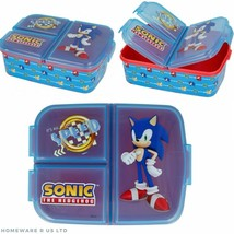 CHILDRENS SONIC HEDGEHOG PLASTIC 3 COMPARTMENT LUNCH BOX SNACK TUB SCHOO... - $16.97