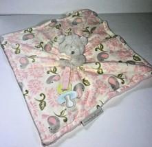 Blankets & Beyond Bear Lovey Gray Pink Bird Plush Baby Security Blanket ... - $29.02