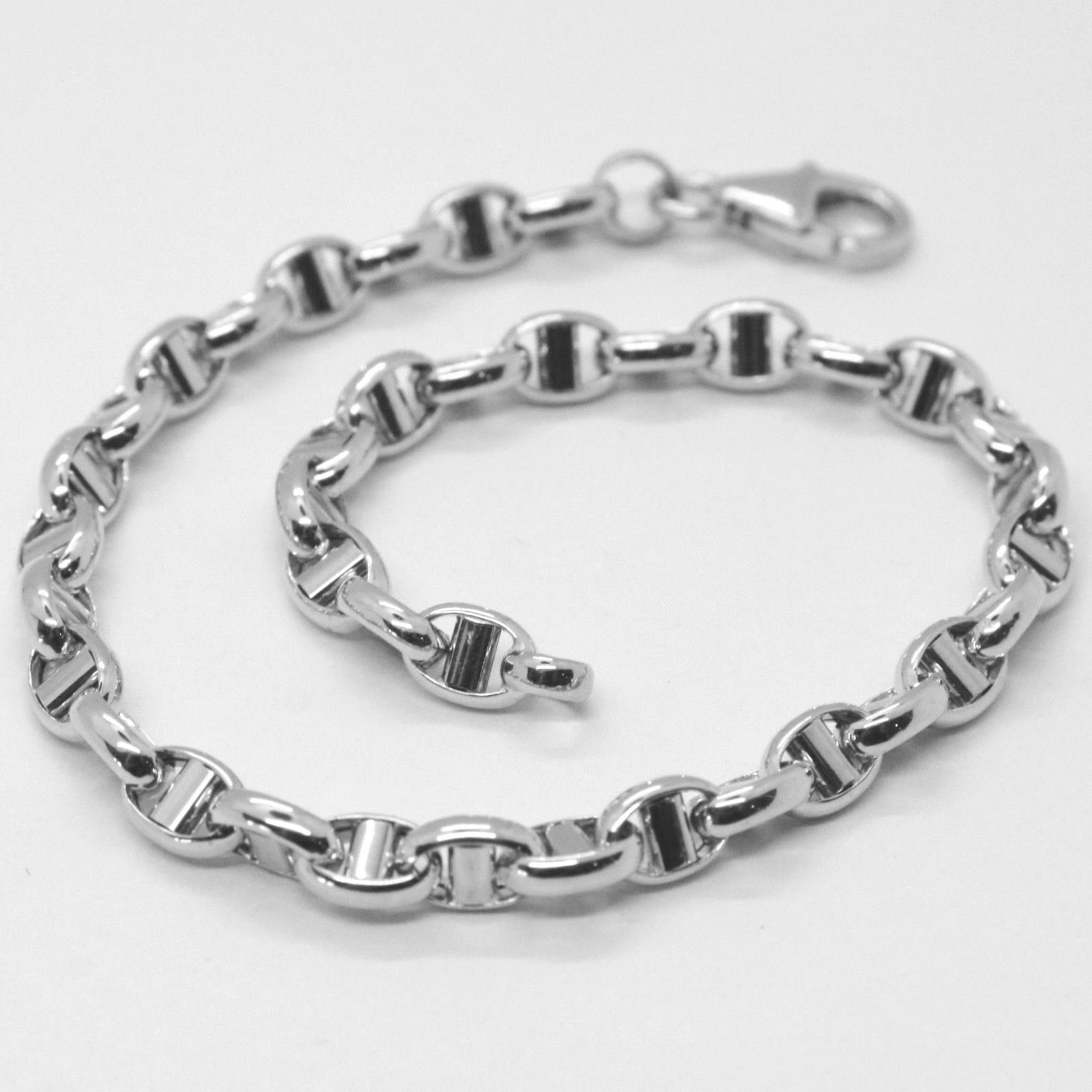 18K WHITE GOLD 4 MM OVAL NAVY MARINER BRACELET 7.80 INCHES, 21 CM, ITALY MADE